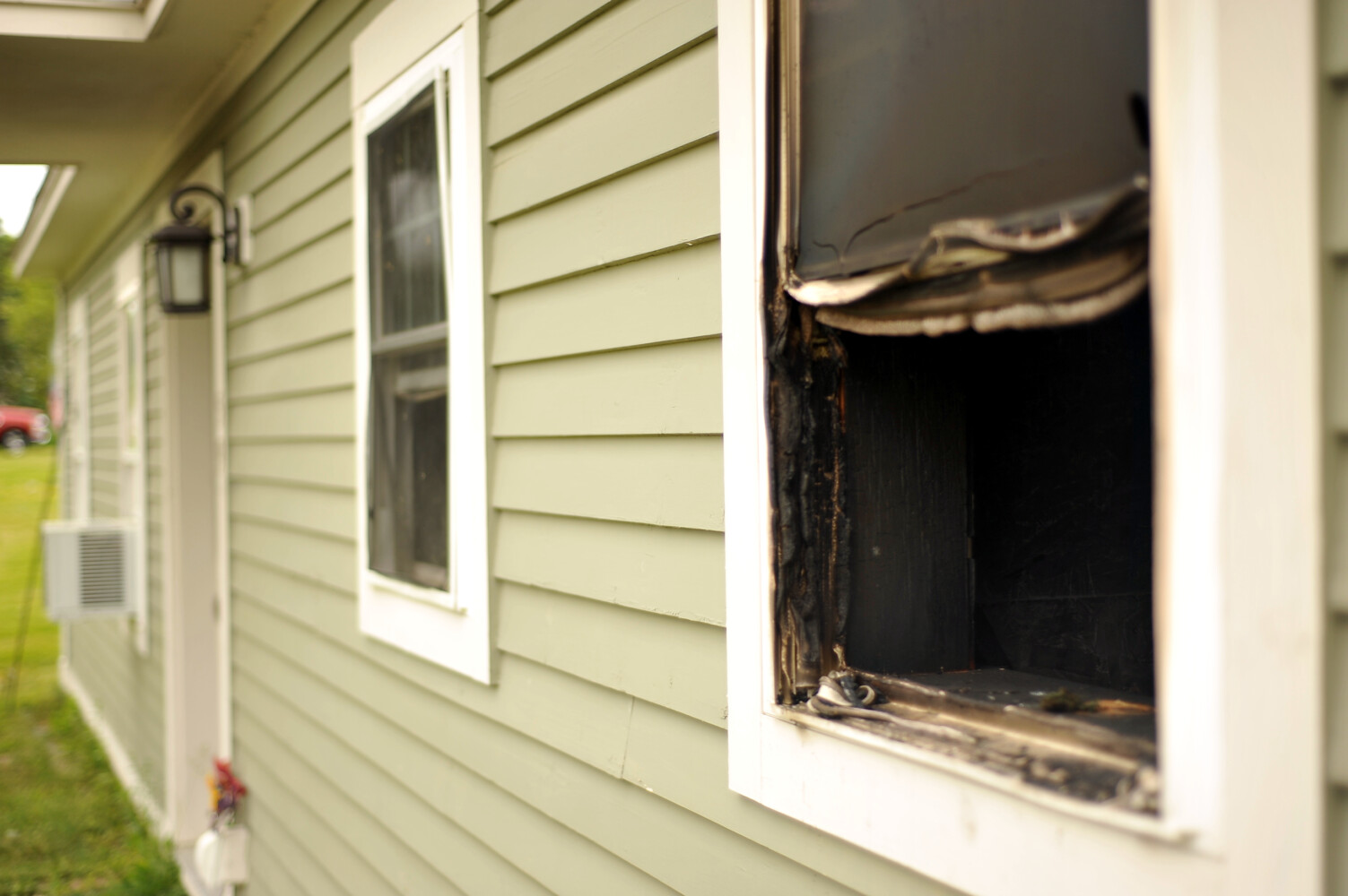 Searsport home shows signs of fire.